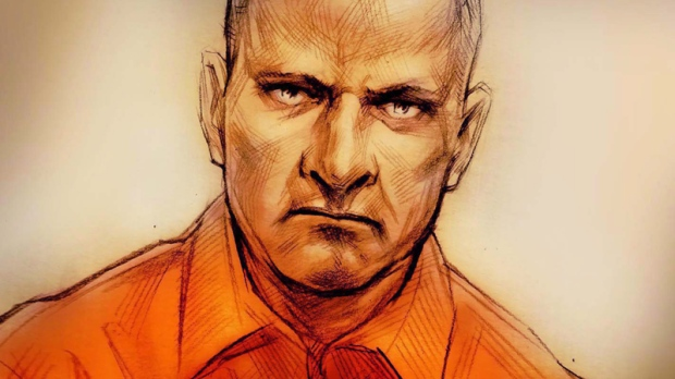 In this courtroom sketch, Col. Russell Williams appears on Feb. 18, 2010. (Alex Tavshunsky / THE CANADIAN PRESS)