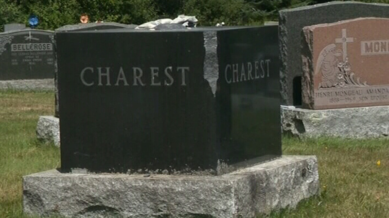 Several tombstones were vandalized at a Sherbrooke cemetery in Quebec, including a gravestone belonging to the Charest family.