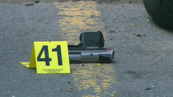 Toronto police found this semi-automatic handgun at the scene of a shooting near Weston Road and Black Creek Drive on Wednesday, Aug. 25, 2010.
