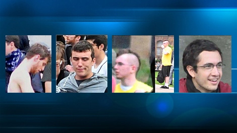 Toronto police allege these four as-yet unidentified suspects committed some of the worst vandalism during the G20 Summit riot on Saturday, June 26, 2010.
