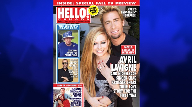 In this week's issue of Hello! Canada magazine, Nickelback frontman Chad Kroeger and rocker Avril Lavigne share their story and engagement photos, in which Lavigne is wearing a pear-shaped diamond ring. (Hello! Canada-Robb Dipple)