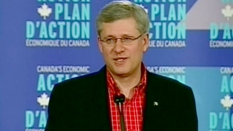 Prime Minister Stephen Harper responds to criticism of his Arctic tour in Whitehorse, Yukon, Friday, Aug. 27, 2010.