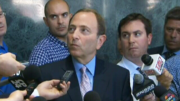 NHL commissioner Gary Bettman answers questions regarding the NHL contract dispute Thursday, Aug. 23, 2012.