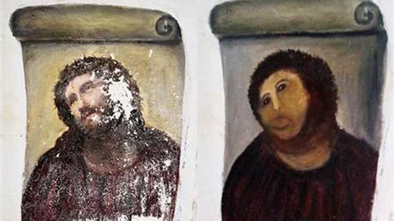 This combination of two undated handout photos made available by the Centro de estudios Borjanos shows the 20th century Ecce Homo-style fresco of Christ before (left) and after (right) an elderly amateur artist Celia Gimenez, 80, took it upon herself to restore it in the church of the northern Spanish agricultural town of Borja.