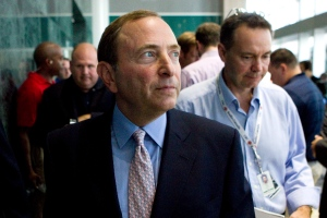 Gary Bettman, Commissioner of the NHL, makes his exit after speaking with reporters following talks with the NHLPA in Toronto on Thursday, Aug. 23, 2012. (Chris Young / THE CANADIAN PRESS)