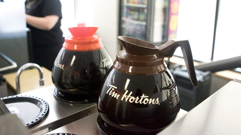 A pot of Tim Hortons coffee sits on a hot plate as the company's financial year end results are announced at an AGM in Toronto on Friday May 14 2010. (Chris Young / THE CANADIAN PRESS)