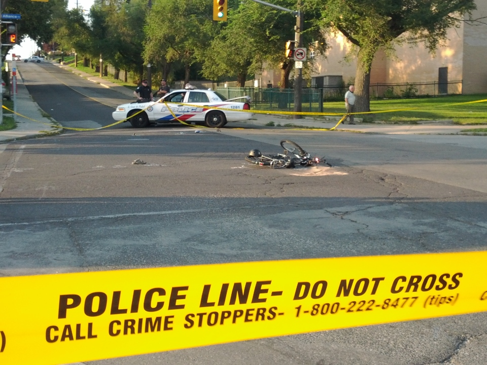 Police respond to a fatal cycling collision near Rockcliffe Boulevard and Alliance Avenue on Thursday, Aug. 23, 2012. (Jorge Costa/CTV)