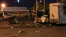 Debris is littered around an area of the CNE following an explosion overnight in Toronto, Friday, Aug. 24, 2012. (Tom Stefanac / CTV News)