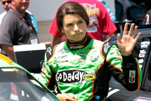 FILE - This July 28, 2012 file photo shows Danica Patrick waving after qualifying for the NASCAR Nationwide Series Indiana 250 auto race at the Indianapolis Motor Speedway in Indianapolis. Patrick's unlucky streak rolls into Bristol Motor Speedway this weekend, where she's scheduled to run both the Nationwide Series race and Saturday night's, Aug. 25, 2012, Sprint Cup Series race. (AP Photo/AJ Mast, File)