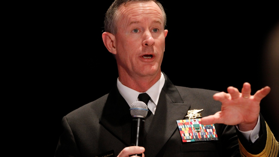 Navy Adm. Bill McRaven, commander of the U.S. Special Operations Command, addresses the National Defense Industrial Association (NDIA), in Washington, Feb. 7, 2012. (AP / Charles Dharapak)