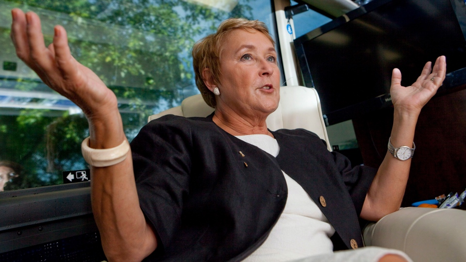 PQ leader Pauline Marois gestures as she speaks during an interview with a Canadian Press journalist in Quebec City, Friday, Aug. 24, 2012. (Francis Vachon / THE CANADIAN PRESS)
