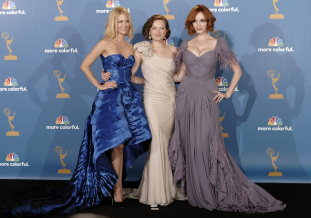 January Jones, Elisabeth Moss and Christina Hendricks, left to right, from the show 'Mad Men' pose in the press room after the show won outstanding drama series during the 62nd Primetime Emmy Awards Sunday, Aug. 29, 2010, in Los Angeles. (AP / Chris Pizzello)