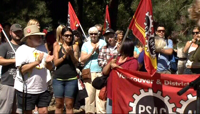 Dozens of protesters rallied outside the Kitsilano Coast Guard base in hopes of getting the decision to shut down the base reversed by the federal government in B.C., Saturday, Aug. 25, 2012.