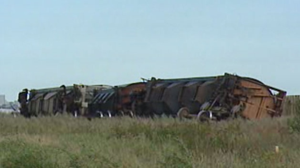 Eleven cars derailed from a freight train travelling near the Tyndall Park area Saturday.