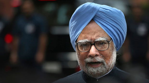 Indian Prime Minister Manmohan Singh makes a statement to the media after he was shouted down by opposition politicians in the lower house of Parliament in New Delhi, India, Monday, Aug. 27, 2012. (AP Photo/Manish Swarup)