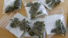 'Care packages' of medical marijuana are displayed at the Harborside Health Center in Oakland, Calif. on Tuesday, Aug. 3, 2010. (AP / Ben Margot)