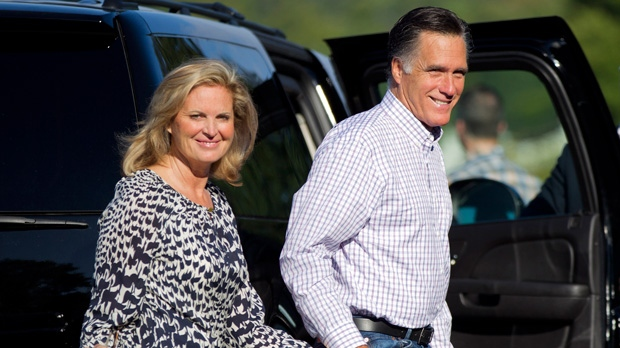 Republican presidential candidate, former Massachusetts Gov. Mitt Romney and his wife Ann, arrive at Brewster Academy for convention preparations in Wolfeboro, N.H. Monday, Aug. 27, 2012. (AP / Evan Vucci)