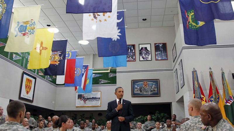U.S. President Barack Obama speaks to members of the military at Fort Bliss in El Paso, Texas, Tuesday, Aug. 31, 2010. (AP / Pablo Martinez Monsivais)