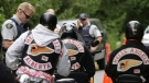 Hells Angels are seen stopped by police in this file photo. (CTV)