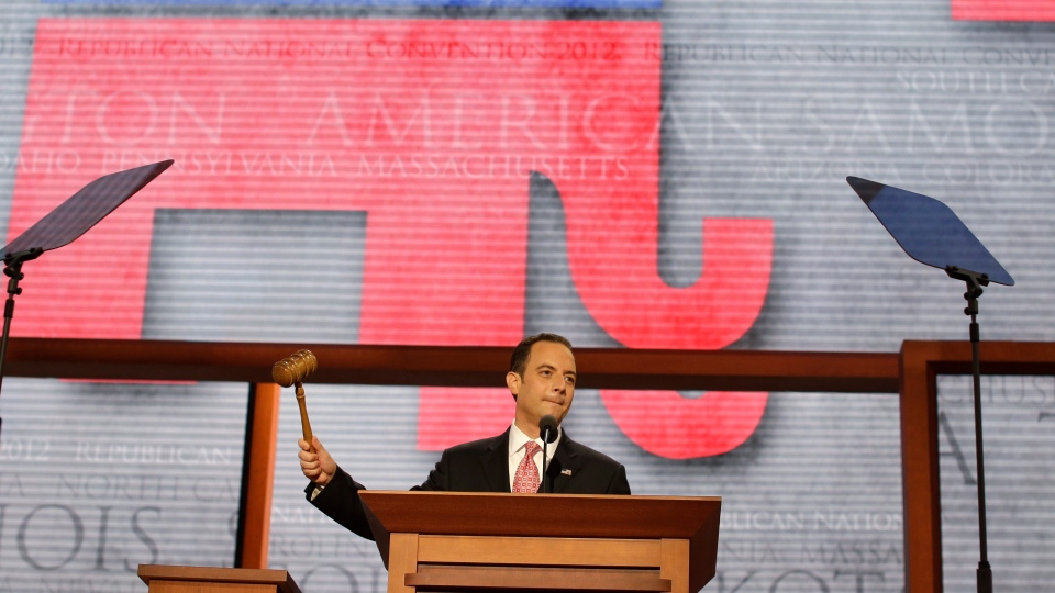 Chairman of the Republican National Committee Reince Priebus gavels the Republican National Convention open in Tampa, Fla., on Monday, Aug. 27, 2012. (AP/Charles Dharapak)