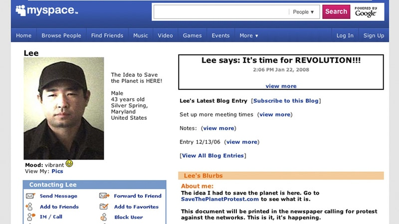 This frame grab from MySpace.com shows the page of James J. Lee. Lee, 43, a gunman with what police described as 'concerns' with the Discovery Channel networks took at least one person hostage in the company's Silver Spring, Md., headquarters Wednesday, Sept. 1, 2010.  (AP Photo)