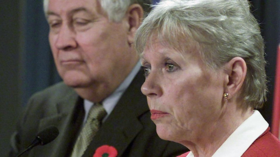 Senator Joyce Fairbairn appears at news conference in Ottawa Nov 1, 2001. Joyce Fairbairn, 73, will not return to the Senate when it resumes in the fall. (Fred Chartrand / THE CANADIAN PRESS)