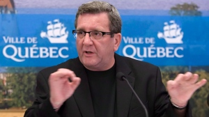 Quebec City Mayor Regis Labeaume speaks about how legionnaire's disease has killed six people in Quebec City Friday August 24, 2012. (Clement Allard / THE CANADIAN PRESS)