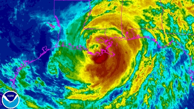 Isaac churns through the northern gulf coast as seen in this enhanced NOAA satellite image taken 9:45 a.m. ET, Wednesday, Aug. 29, 2012.