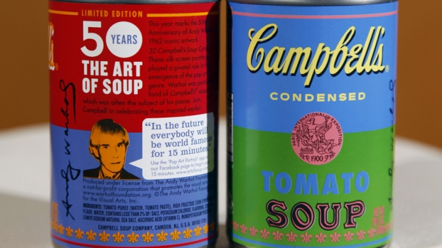 New limited edition Campbell's tomato soup cans with art and sayings by artist Andy Warhol.