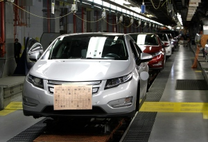 Chevrolet Volt vehicles are shown on the assembly line at the General Motors Hamtramck Assembly plant in Hamtramck, Mich., Wednesday, July 27, 2011. (AP / Paul Sancya)
