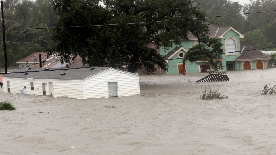 Homes are flooded as Hurricane Isaac hits Braithwaite, La., on Wednesday, Aug. 29, 2012. (AP / David J. Phillip)