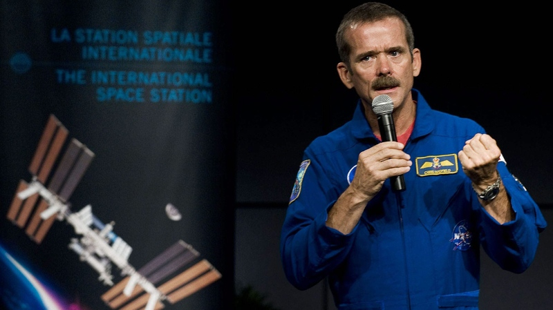 Astronaut Chris Hadfield speaks at a press conference at the Canadian Space Agency Headquarters in Longueuil, Que., Thursday, Sept. 2, 2010. (Canadian Space Agency)