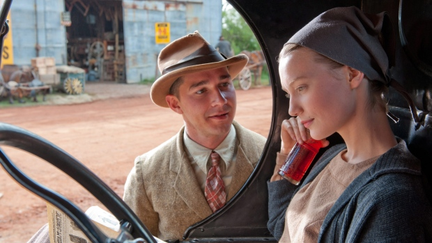 Shia LaBeouf, left, and Mia Wasikowska in a scene from Alliance Films' 'Lawless.'