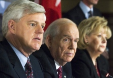 John Manley, Derek Burney and Pamela Wallin hold news conference in Ottawa on Tuesday, Jan. 22, 2008 (Fred Chartrand / THE CANADIAN PRESS)