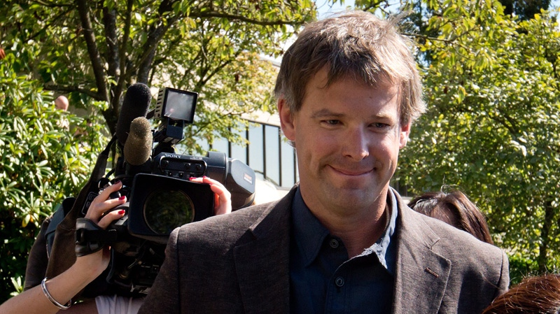 Robert Fawcett, accused of killing 56 sled dogs after the 2010 Olympics, leaves B.C. Provincial Court in North Vancouver, B.C., on Thursday August 30, 2012. (Darryl Dyck  / THE CANADIAN PRESS)