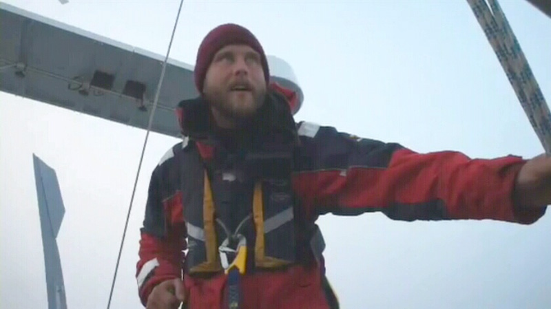 One of the members who sailed through the Northwest Passage is seen in this image taken from video.
