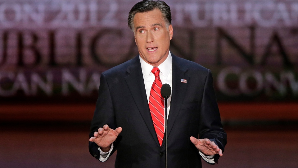 Republican presidential nominee Mitt Romney addresses the Republican National Convention in Tampa, Fla., on Thursday, Aug. 30, 2012. (AP Photo/J. Scott Applewhite)