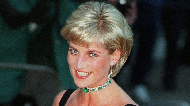 In this July 1, 1997, file photo, Princess Diana smiles as she arrives at the Tate Gallery in London to attend the Centenary Gala honoring the world-famous museum. (AP Photo/Jacqueline Arzt, file)