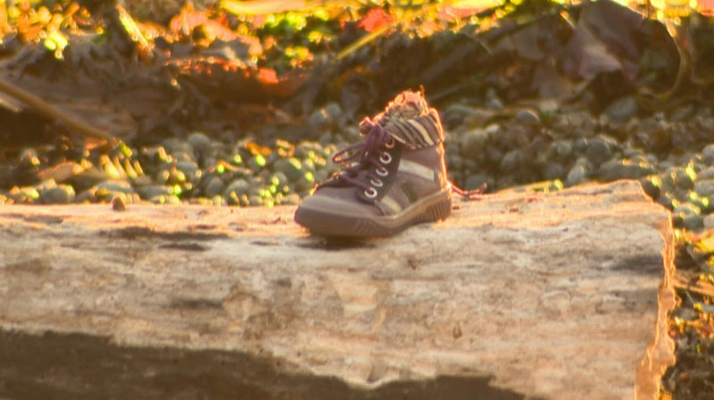 A shoe containing what police confirm are non-human remains sits on a log in Victoria, B.C. on Aug. 31, 2012. (CTV)