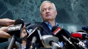 Donald Fehr, Executive Director of the NHLPA, speaks with the press following talks with the NHL in Toronto on Thursday, Aug. 23, 2012. (Chris Young / THE CANADIAN PRESS)