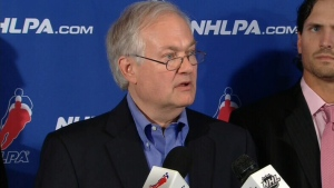Donald Fehr, Executive Director of the NHLPA, speaks with the press following talks with the NHL in New York on Friday, Aug. 31, 2012.