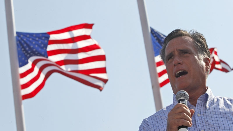 Republican presidential candidate and former Massachusetts Gov. Mitt Romney speaks at a campaign event in Jacksonville, Fla., Saturday, Sept. 1, 2012. (AP / Mary Altaffer)