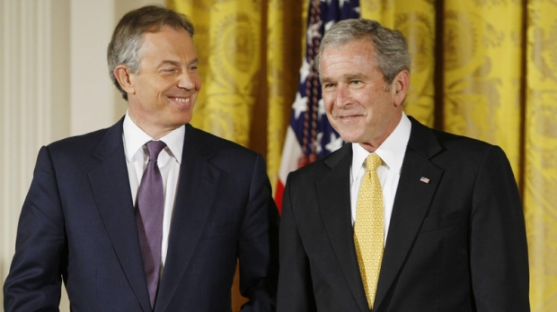 George W. Bush and Tony Blair in the East Room of the White House in Washington on Jan. 13, 2009.