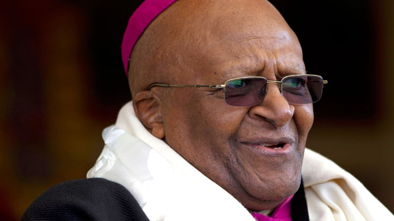 Archbishop Desmond Tutu, who was awarded the Nobel Peace Prize for his part in fighting apartheid, speaks during a felicitation event for him in Dharmsala, India, in this Feb. 10, 2012 file photo. (AP / Ashwini Bhatia)