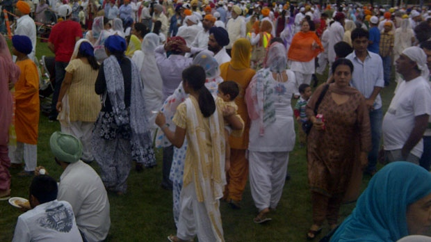 Thousands of Winnipeg's Sikh community gathered in Memorial Park to celebrate the anniversary of their holy book.