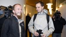 Pirate Bay founders Gottfrid Svartholm Warg, left, and Peter Sunde on Feb. 16, 2009.