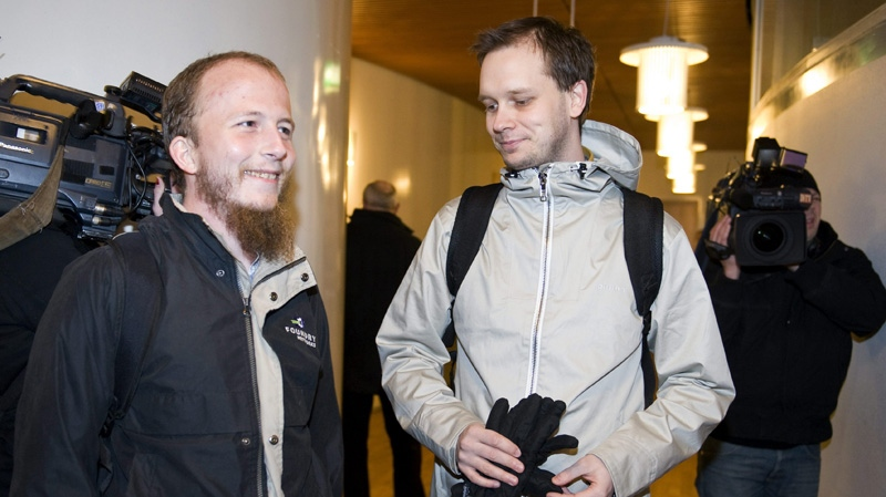 In this Feb. 16, 2009 file photo, Pirate Bay founders Gottfrid Svartholm Warg, left, and Peter Sunde are seen at the Stockholm district court. (AP Photo / Bertil Ericson / SCANPIX)