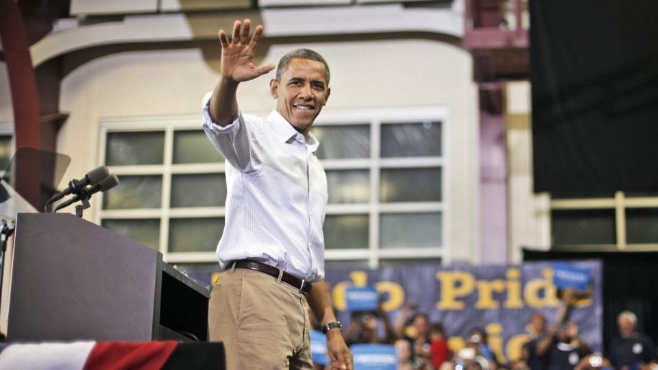 U.S. President Barack Obama waves to supporters after speaking a campaign event at Scott High School, Monday, Sept. 3, 2012, in Toledo, Ohio. (AP / Pablo Martinez Monsivais)