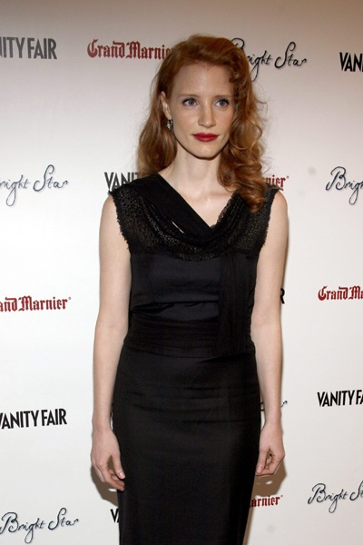 Actress Jessica Chastain arrives at the premiere of the film 'Bright Star' in New York, Monday, Sept. 14, 2009. (AP Photo / Andy Kropa)