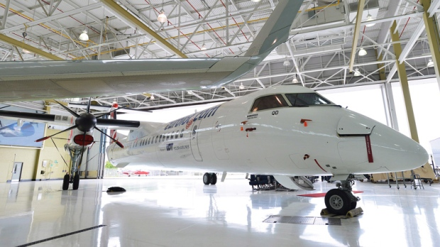 A Bombardier Q400 turboprop at the Bombardier facility in Toronto, Ontario on July 25, 2012.